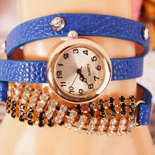 2015 nueva moda de nueva Hawaii 18 K partido cristalino plateado oro de joyería relojes mujeres RhinestoneChain reloj de cuarzo de cuero