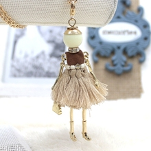 Fashion doll necklace for women 2015 Cute Assorted Colors Tassels Doll Necklace Women Jewelry Accessories Bijoux