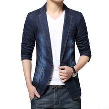 2016 New Men Spring Denim Jeans Blazers and Jackets Men's Casual Fashion Slim Fit Long Sleeved Single Button Style Blazers Suits
