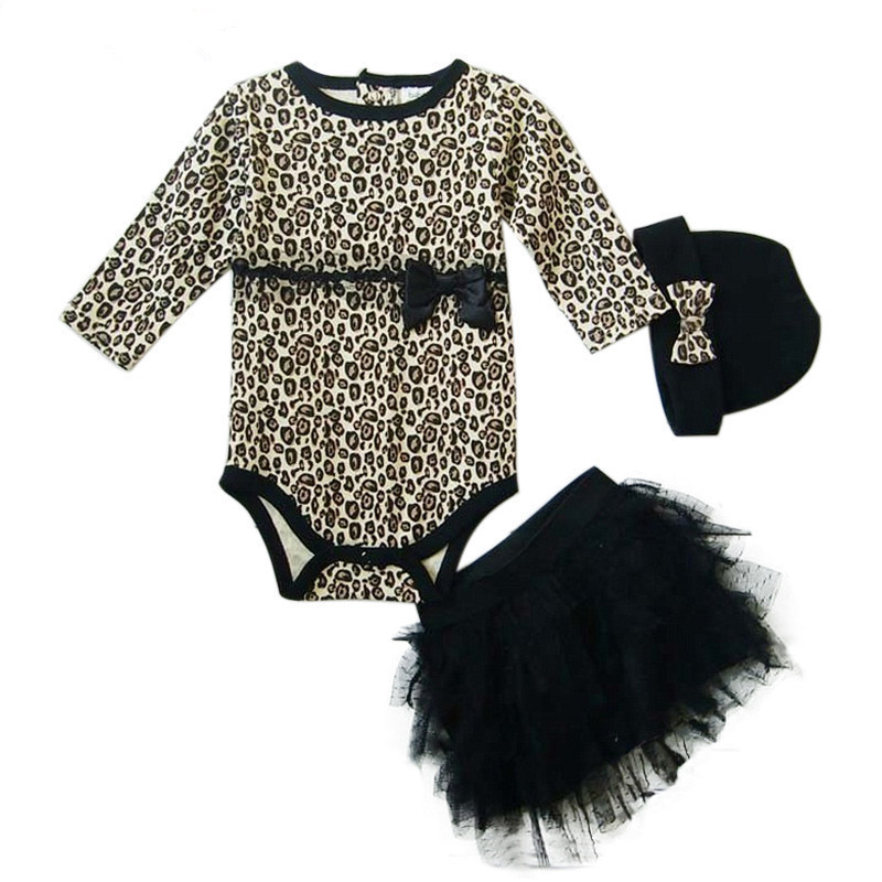 Baby rompers girls 3pcs sets:long sleeved rompers + tutu skirt dress+headband(hat) Autumn girls leopard baby clothing sets<br><br>Aliexpress