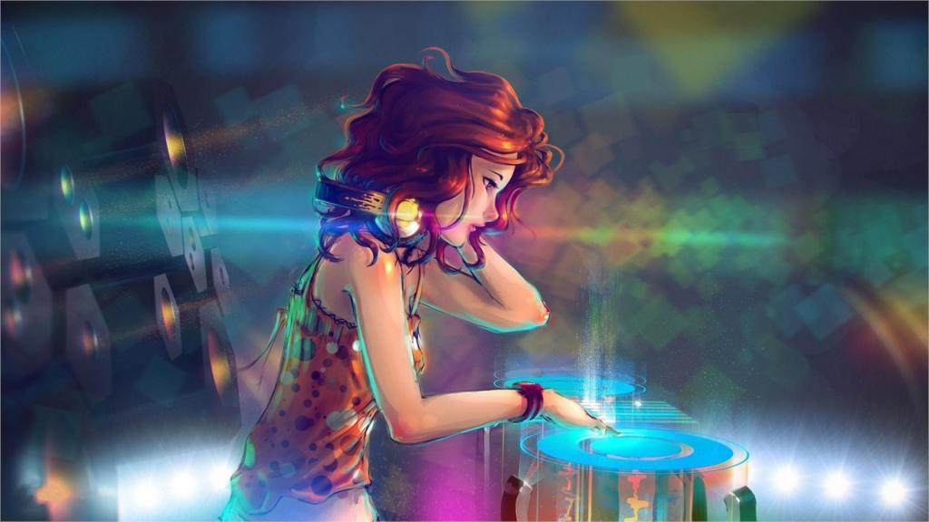 Living room home wall decoration fabric poster Women DJ turntables interfaces headphones anime girls(China (Mainland))