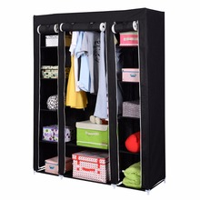 "53"" Portable Closet Wardrobe Clothes Rack Storage Organizer With Shelf Black New Free Shipping HW49692BK(China (Mainland))"