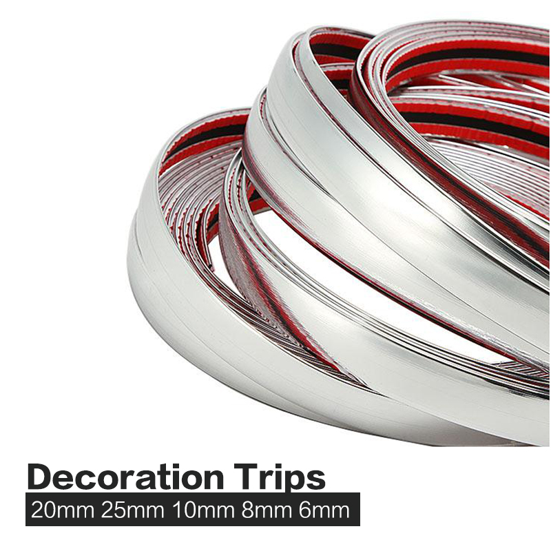 20mm x 16ft  5m PVC Chrome Molding Trim Strip Silver Car Exterior and Interior  Decoration Bumper Impact Adhesive Grille Styling<br><br>Aliexpress
