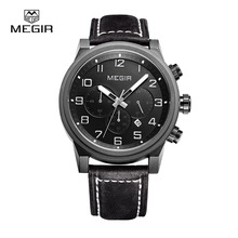 MEGIR Sport  Men Watches Luxury Brands Quartz Watches Genuine Leather Luminous Waterproof Sports relogio reloj 3011