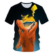 Новинка 2019 года, Детская футболка с героями мультфильмов Детская футболка с 3D-принтом «Покемон» и «Пикачу» летняя футболка с короткими рука...(China)