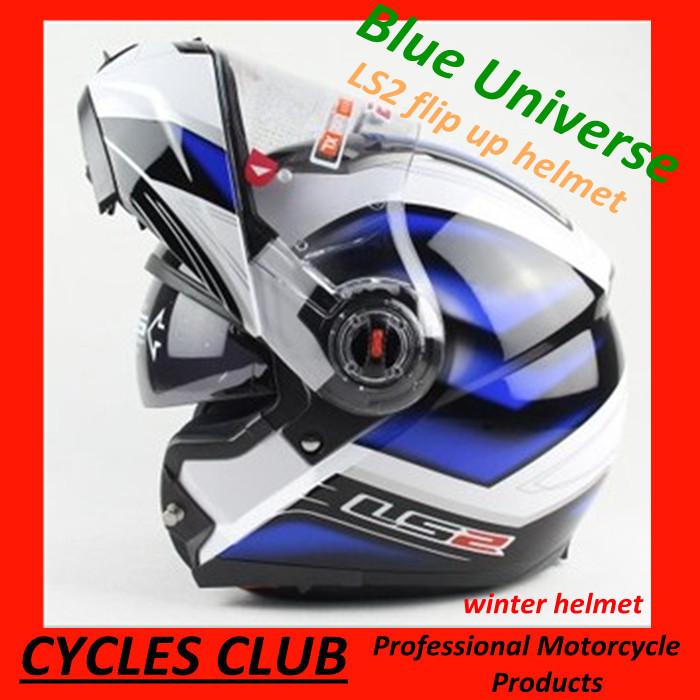 Free Shipping flip up Motorcycle helmet LS2 Full Face motorcross racing Helmet Dot ECE Approved blue Double visor Size L XL XXL