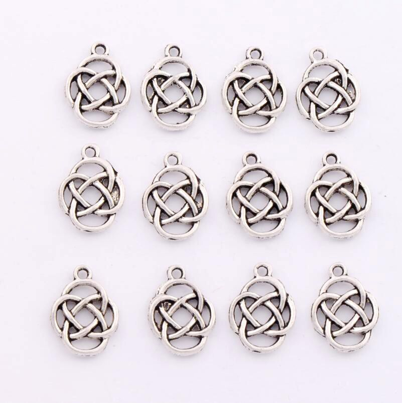 31pcs 17.6x13mm Fine Silver Plated Pewter Knot Open Spacer Charm Beads Pendants Alloy Handmade Jewelry DIY L295(China (Mainland))