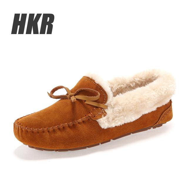 HKR 2016 Зима женщины квартиры женская обувь flock мех внутри повседневная квартиры ...