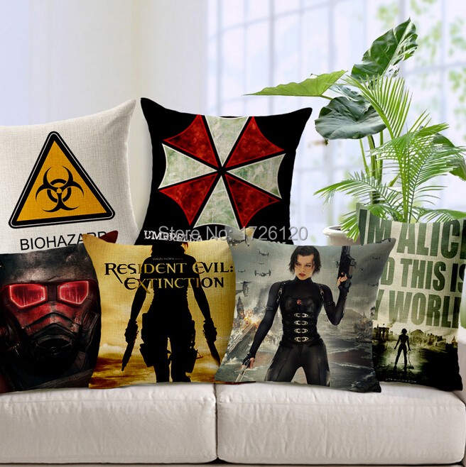 High Quality Resident Evil Pattern Throw Pillow Case Cushion Cover Cotton Painted 6 Designs Option Free Shipping(China (Mainland))