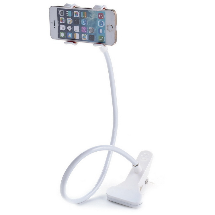 White Flexible Arm Mobile Phone Holder Stand 64cm Long Lazy People Bed DesktopTablet Double Clamp Chuck phone Stands for iphone(China (Mainland))