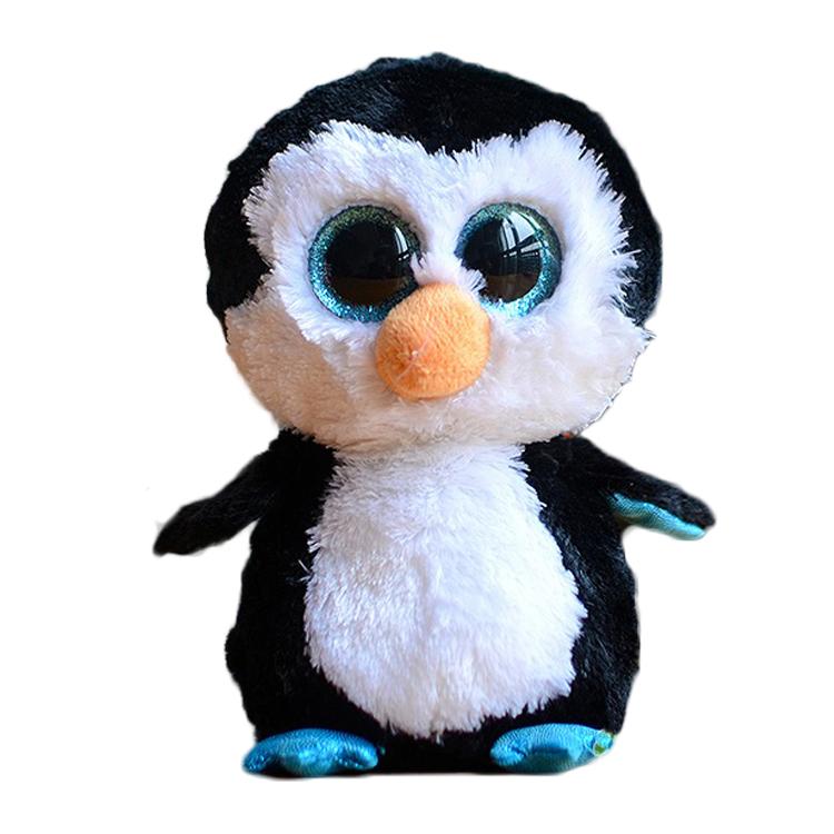 Ty Beanie Boos Big Eyes Plush Toy Doll Black Penguin Stuffed Animals Soft Doll Baby Kids Gift 10 - 15cm(China (Mainland))