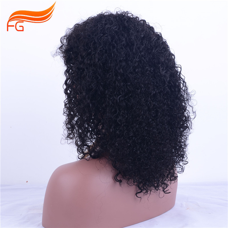 Fatory price Virgin mongolian curly full lace wig , quality kinky human hair wigs  -  FG Hair Products Co.,LTD store