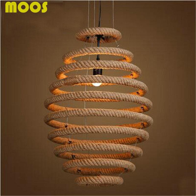 Loft Vintage Industrial personality rope pendant light Retro droplight hemp rope home deocorative cafe fixture lights(China (Mainland))