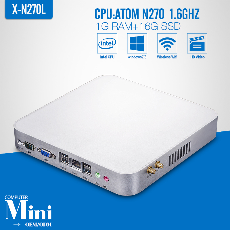 N270 1g ram 16g ssd wifi With Wifi Mini PC Windows 7 Desktop Computer Fanless Box PC Thin Client PC(China (Mainland))