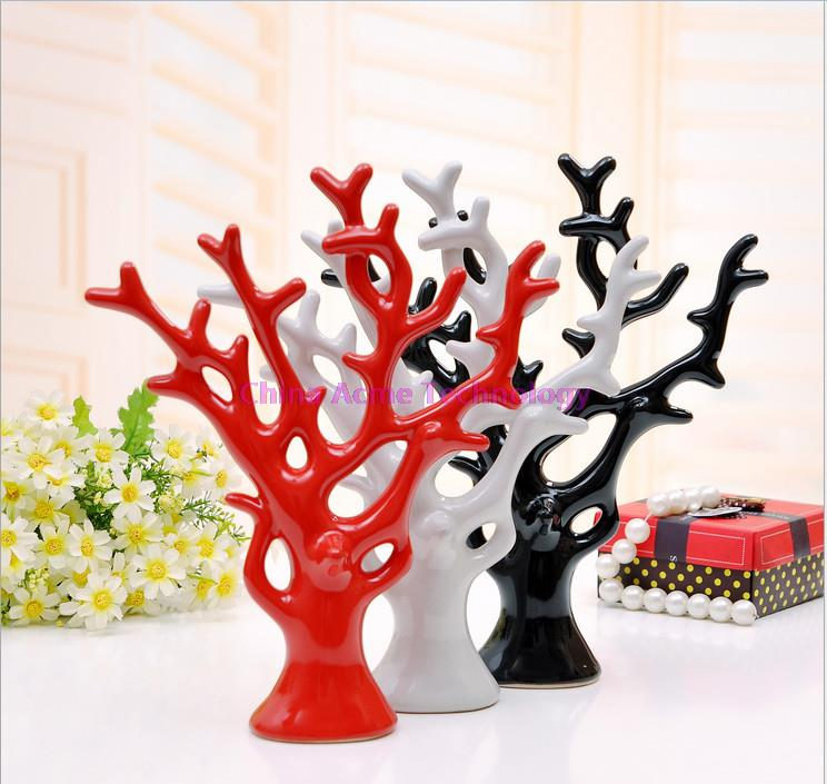 A pec China Modern Pottery Ceramic Decoration Magic Tree Red Black White Artificial Tree Decorations for house luxury gift(China (Mainland))