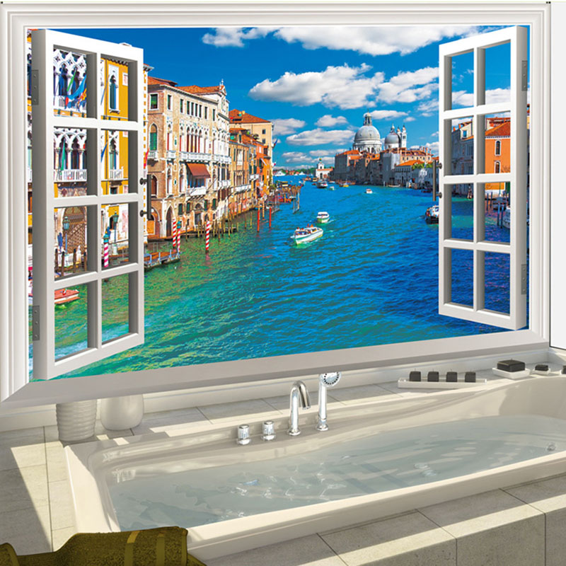 3D DIY Simulation Window Removable Vinyl Wall Stickers Venice Water City Scenery Nautical Decor Bedroom Kids Rooms Wall Decals(China (Mainland))