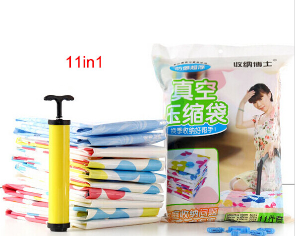Space Saver 11 in1 Vacuum Storage Bag Compressed Bags Organizer For Clothes Bedding With Hand Hot Sale Vacuum Pump(China (Mainland))