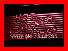 i122-r Hot Chicken Wings BBQ Shop Bar LED Neon Light Sign On/Off Switch 7 Colors(China (Mainland))