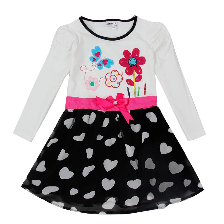 wholesale nova kids dress long sleeve baby girl dresses autumn spring girl dress nova factory sell child frocks hot sell dresses(China (Mainland))