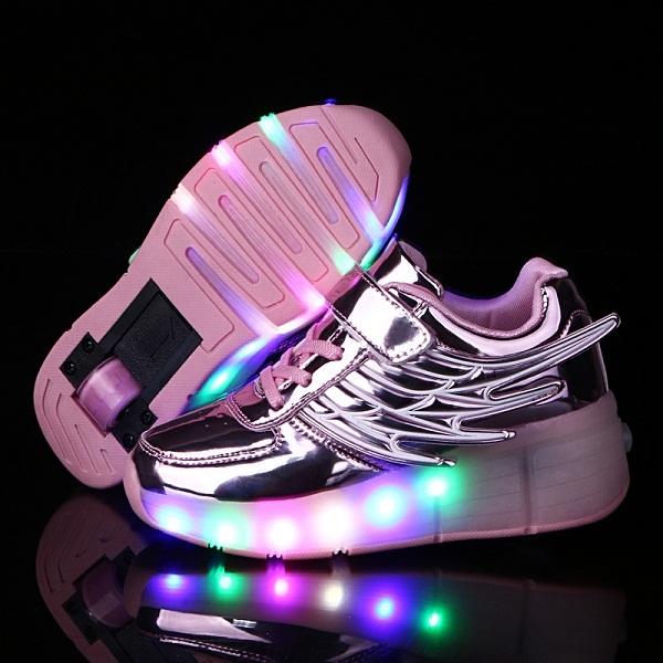 Новый 2016 Золотой Ребенок Мода Девочек Мальчиков Свет Ролик Skate Shoes For Children shoes Дети Кроссовки С Колесиками