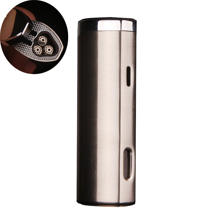 Cylinder butane torch metal 3 jet turbo gas pen lighters,windproof lighters, cigarette pipes Cigar,outdoor lamp(China (Mainland))