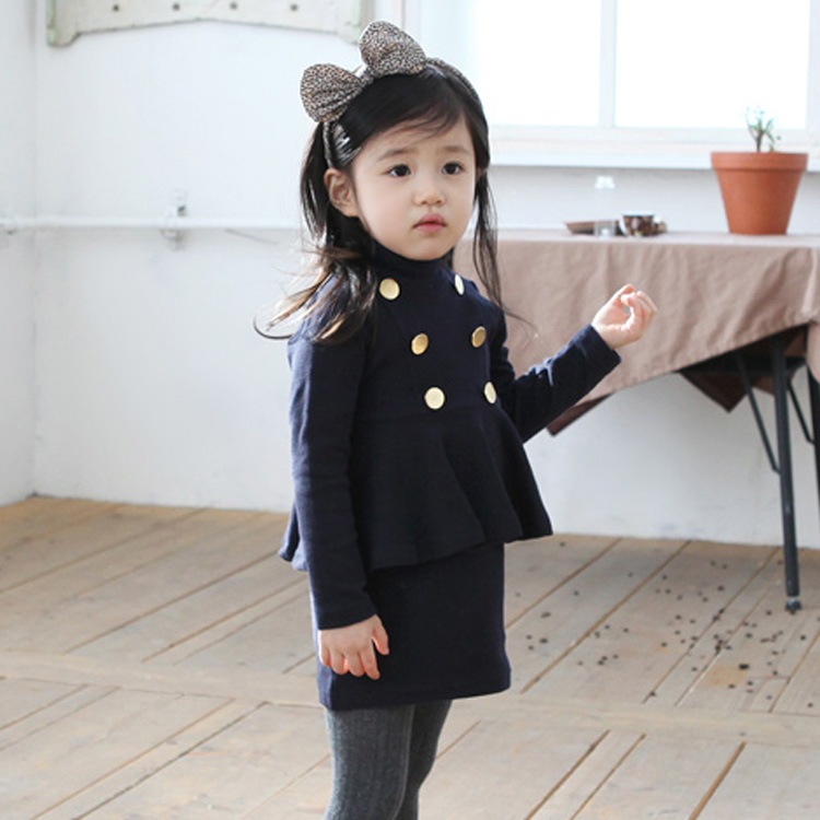 Spring 2014 new European and American style fake two piece girls dress graden children clothing cute kids dress<br><br>Aliexpress