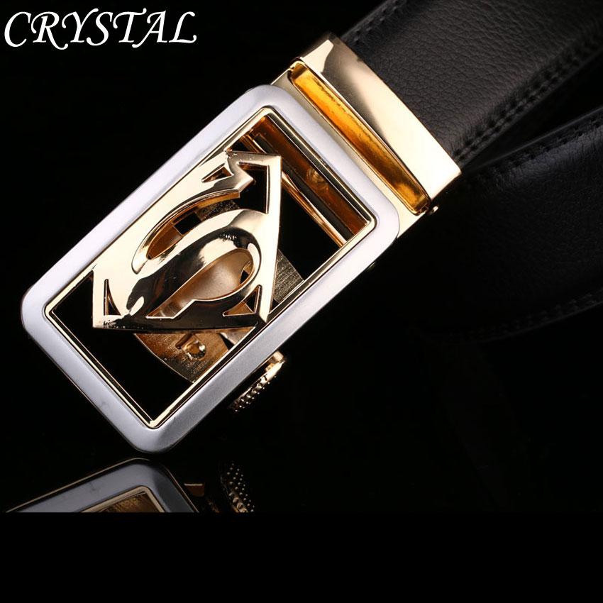 Belt Ceintures Ceinture Homme Designer Belts Men Superman Real Leather Gold Automatic Buckle Black Brown - Crystal Top Fashion store