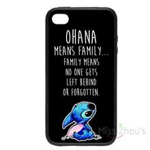 For iphone 4/4s 5/5s 5c SE 6/6s plus ipod touch 4/5/6 back skins cellphone cases cover Ohana Means Family Lilo Stitch Style