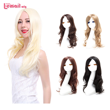 L-email Fashion Women Cute Lady Wig 60cm/24inches Synthetic Wigs Hair Mixed Beige Synthetic Hair Long Platinum Blonde Wig FL09(China (Mainland))