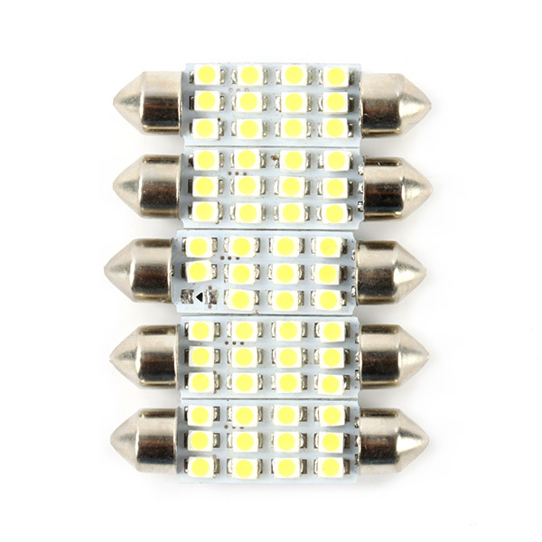5PCS x Car Dome 12 3528-SMD LED Bulb Light Interior Festoon Lamp 40mm DC 12V(China (Mainland))