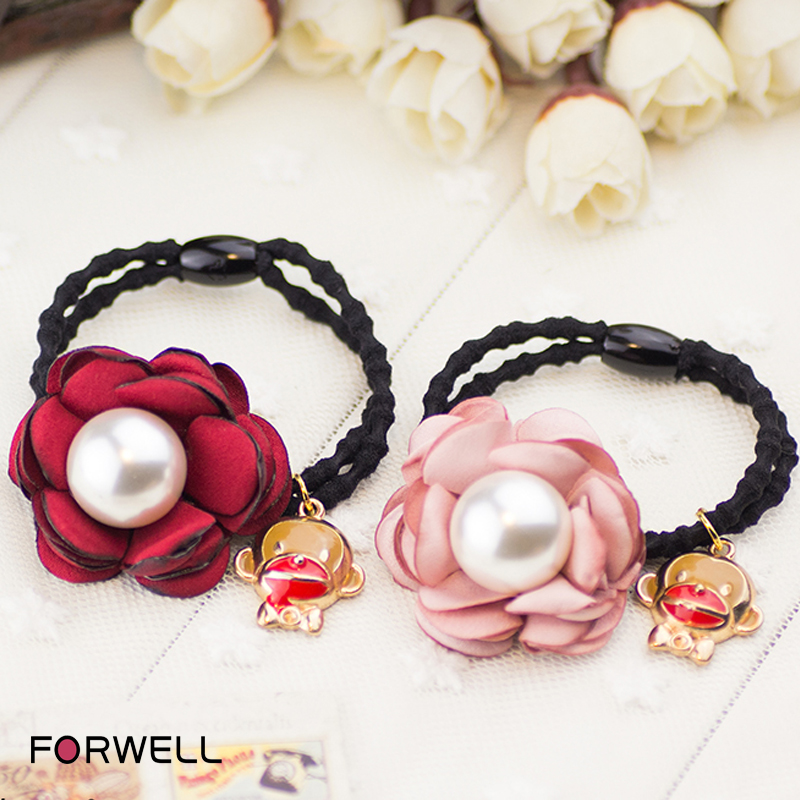 2016 Hot sale handmade DIY women hair accessories red and pink flowers hair ring hair rope pearl alloy pendants rubber bands(China (Mainland))