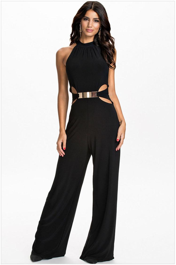 Womens Jumpsuit Elegant Playsuit Sexy Women Rompers 2015 Fashion Summer Slim Bodycon Black Loose ...