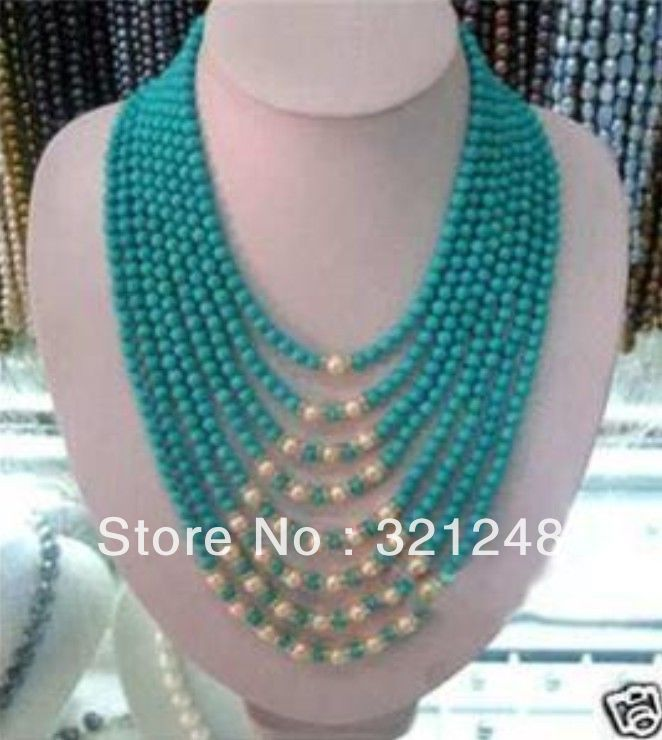 Free postage diy Beautiful 8row 6mm turquoise white pearl necklace 17-22'' beads jewelry making MY2322(China (Mainland))