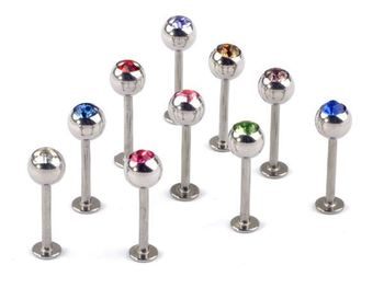 Wholesale Mixed Colors Body Jewelry Piercing Labret Belly Ring 60pcs/lot Free Shipping