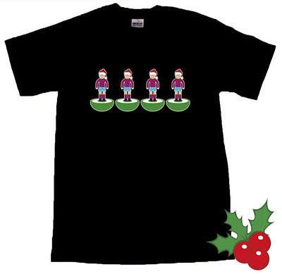Subbuteo Back Four West Ham Santa Hat Christmas Black T-SHIRT ALL SIZES Free Shipping(China (Mainland))