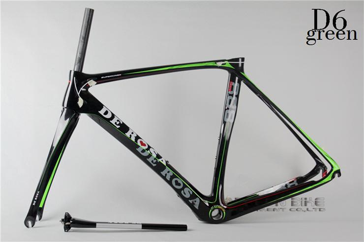 2015 New De Rosa superking 888 D6 green full suspension frame carbon cyclocross frame carbon fiber road bike frame track frame(China (Mainland))