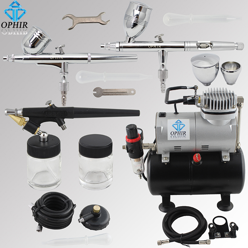 OPHIR 3 Airbrush Guns with Air Brush Tank Compressor for Car Paint Hobby Tattoo Cake Decorating ...