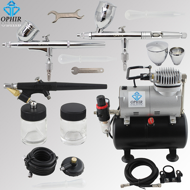 Ophir 3 airbrush guns with air brush tank compressor for for Car paint air compressor
