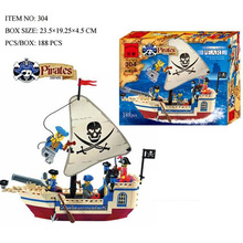 118 Pcs Assembling Toys Pirate Ship Building Bricks Blocks Sets Figures Minifigures Compatible With legoed Toys Gifts Lbk_qm_022