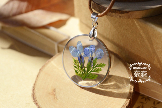 Handmade Epoxy Natural Flower Long Necklaces & Pendants Vintage Bronze Rope Chain Necklace Jewelry Accessories