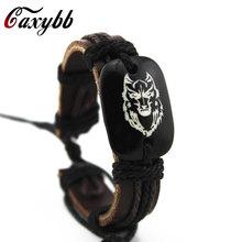 Buy Gaxybb Wolf's Head Men's Leather Bracelet Classic Carved Resin Leather Wolf Bracelets Handmade Leather Bracelet Men for $1.12 in AliExpress store
