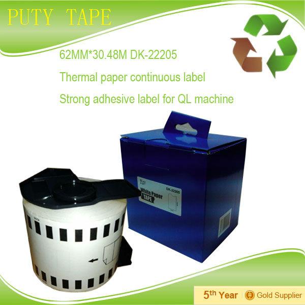 Compatible DK-22205, DK22205 Continuous Labels 62mmX30.48M ( 2-3/7 x 100 ) DK-2205 DK2205 with Plastic Cartridge<br><br>Aliexpress