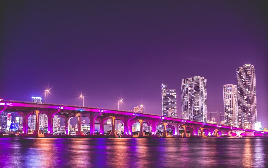 Living room home wall decoration fabric poster Florida Miami night vice city bridge lights beautiful nightscape(China (Mainland))