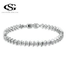 Sales G&S New Year Gift Women luxury bracelets Classic Genuine zircon Fashion platinum Party Attractive Romantic Bracelet(China (Mainland))