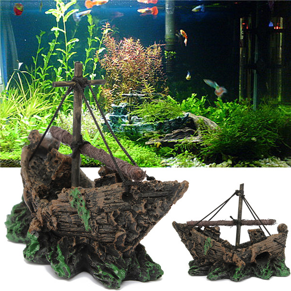 Fish tank decoration cave sailing boat shipwreck aquarium for Aquarium decoration shipwreck