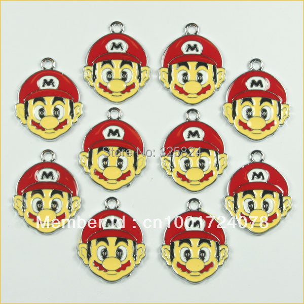 Lot 2Super Mario Brother Metal Zinc Alloy Enamel Charms Pendants Boy & Girl Jewelry Making DIY - The store