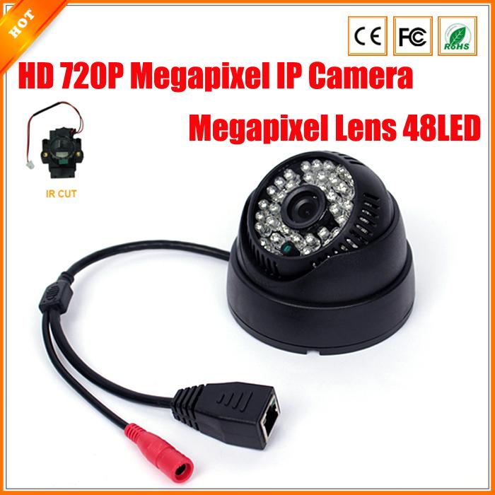 720P Megapixel IP Camera 48 IR LED Indoor Dome CCTV Camera IP Surveillance Security IR Cut Filter ONVIF 2.0 H.264 Phone Viewing(China (Mainland))