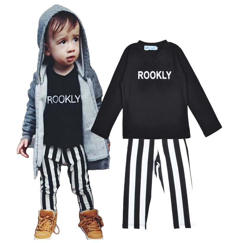 Wholesale boy baby clothes set Brands letter pattern Long sleeve top+stripe pant Leisure set fashion boy girl clothes set spring<br><br>Aliexpress
