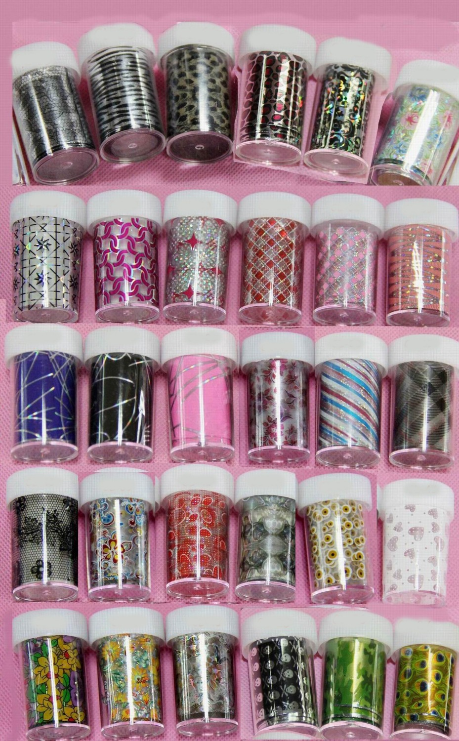 30 Rolls Glitter Nail Art Wrap Nail Transfer Foil Peacock Leopard Flowers Heart Design Free Shipping(China (Mainland))
