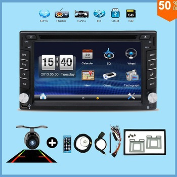 """2017 New! Touch Screen car dvd player gps navigation USB SD Bluetooth FM 6.2"""" 2din in dash TFT support rear view camera input(China (Mainland))"""